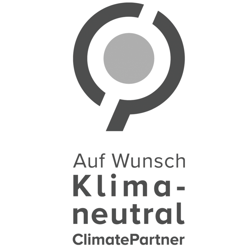 optimal media Logo Climate Partner, auf Wunsch klimaneutral